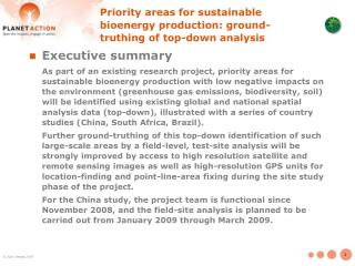 Priority areas for sustainable bioenergy production: ground-truthing of top-down analysis