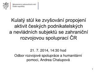 21. 7. 2014, 14:30 hod Odbor rozvojové spolupráce a humanitární pomoci, Andrea Chalupová