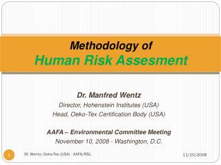 Methodology of  Human Risk Assesment