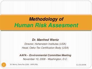 Methodology of  Human Risk Assesment