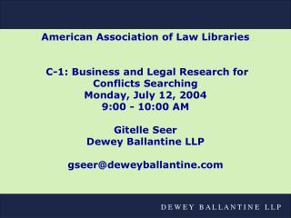 Dewey Ballantine LLP