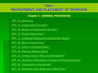 Title I RECRUITMENT AND PLACEMENT OF WORKERS
