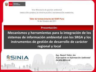 Vice Ministerio de gestión ambiental DIRECCIÓN GENERAL DE I N VESTIGACIÓN E INFORMACIÓN AMBIENTAL