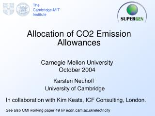 Allocation of CO2 Emission Allowances