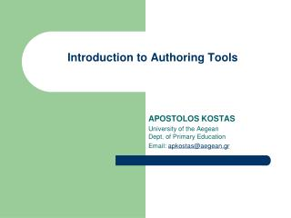 Introduction to Authoring Tools