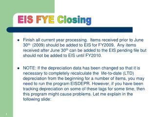 EIS FYE Closing