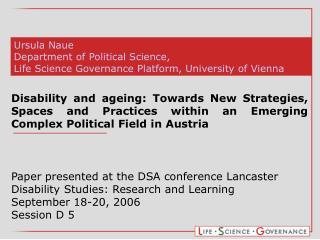 Ursula Naue Department of Political Science,