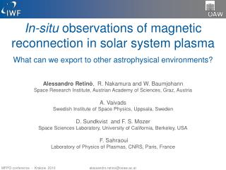 In-situ  observations of magnetic reconnection in solar system plasma