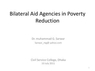 Bilateral Aid Agencies in Poverty Reduction