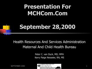 Presentation For  MCHCom.Com September 28,2000
