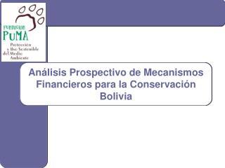 Análisis Prospectivo de Mecanismos Financieros para la Conservación Bolivia