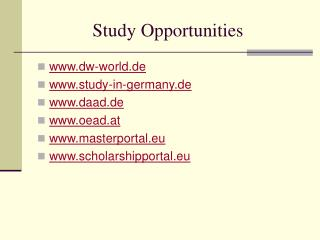 Study Opportunities