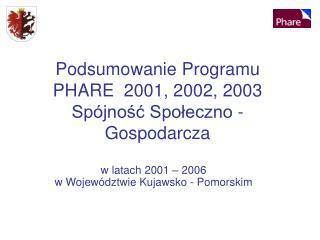 Podsumowanie Programu PHARE  2001, 2002, 2003 Spójność Społeczno - Gospodarcza