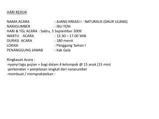 Perkemahan Ceria Anak, Mekarsari, 4 – 6 September 2009 HUT BPK-PA ke 50 GPIB