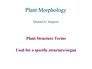 Plant Morphology Michael G. Simpson