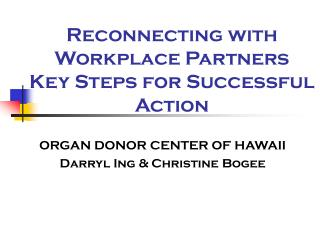 Reconnecting with Workplace Partners  Key Steps for Successful Action