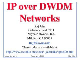 IP over DWDM Networks