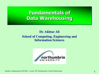 Fundamentals of  Data Warehousing