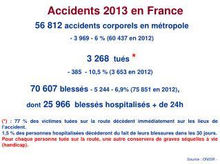 56 812  accidents corporels en métropole  - 3 969 - 6 % (60 437 en 2012) 