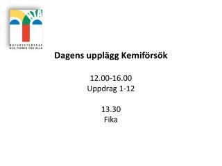 Dagens upplägg Kemiförsök 12.00-16.00 Uppdrag 1-12 13.30 Fika