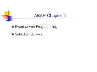 ABAP Chapter 4