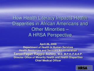 April 26, 2008 Department of Health & Human Services Health Resources and Services Administration