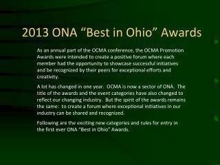 """2013 ONA """"Best in Ohio"""" Awards"""