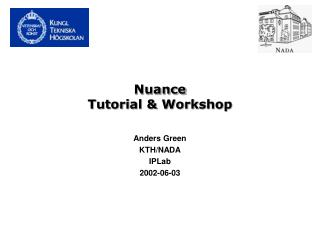 Nuance  Tutorial  Workshop