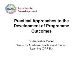 Practical Approaches to the Development of Programme Outcomes