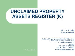 UNCLAIMED PROPERTY ASSETS REGISTER (K)