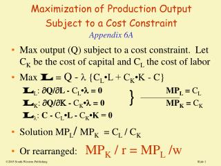Maximization of Production Output Subject to a Cost Constraint Appendix 6A
