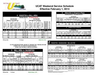 UCAT Weekend Service Schedule Effective February 1, 2014