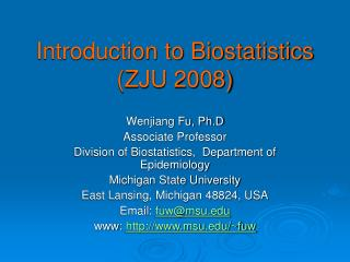 Introduction to Biostatistics (ZJU 2008)