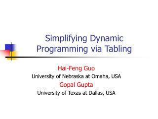 Simplifying Dynamic Programming via Tabling