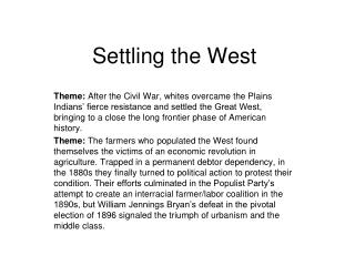 Settling the West
