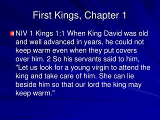 First Kings, Chapter 1