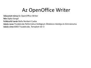 Az OpenOffice Writer