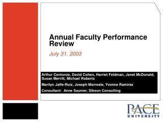 Annual Faculty Performance Review  July 31, 2003
