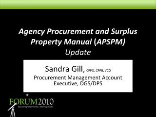 Agency Procurement and Surplus Property Manual APSPM  Update