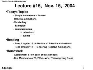 Lecture #15,  Nov. 15,  2004