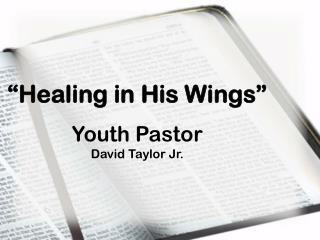"""Healing in His Wings"" Youth Pastor David Taylor Jr."