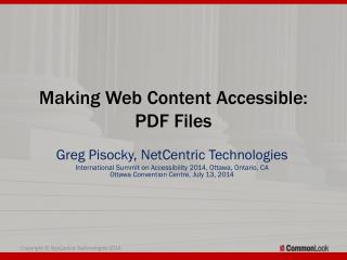 Making Web Content Accessible:  PDF Files