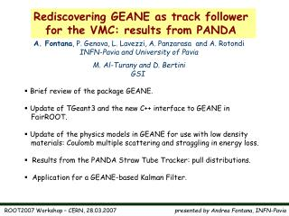 Rediscovering GEANE as track follower  for the VMC: results from PANDA