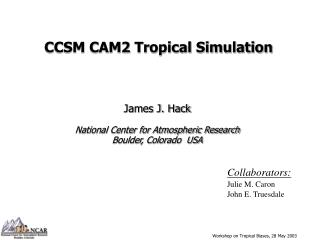 CCSM CAM2 Tropical Simulation