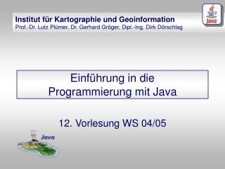 Einf�hrung in die Programmierung mit Java