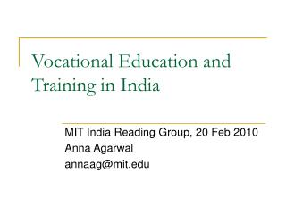 Vocational Education and Training in India