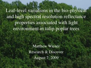 Matthew Wiener Research & Discover August 7, 2009