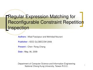 Regular Expression Matching for Reconfigurable Constraint Repetition Inspection