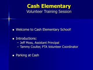 Cash Elementary Volunteer Training Session