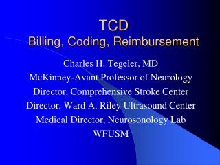 TCD Billing, Coding, Reimbursement
